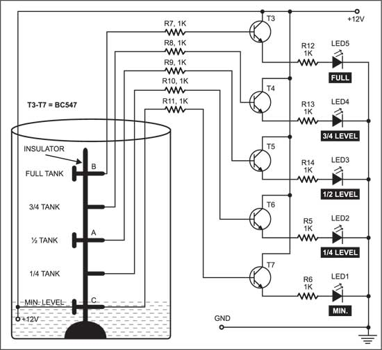 Numeric Water Level Indicator Circuit Diagram | Electronics Components Shop Ritchie Street In Chennai School